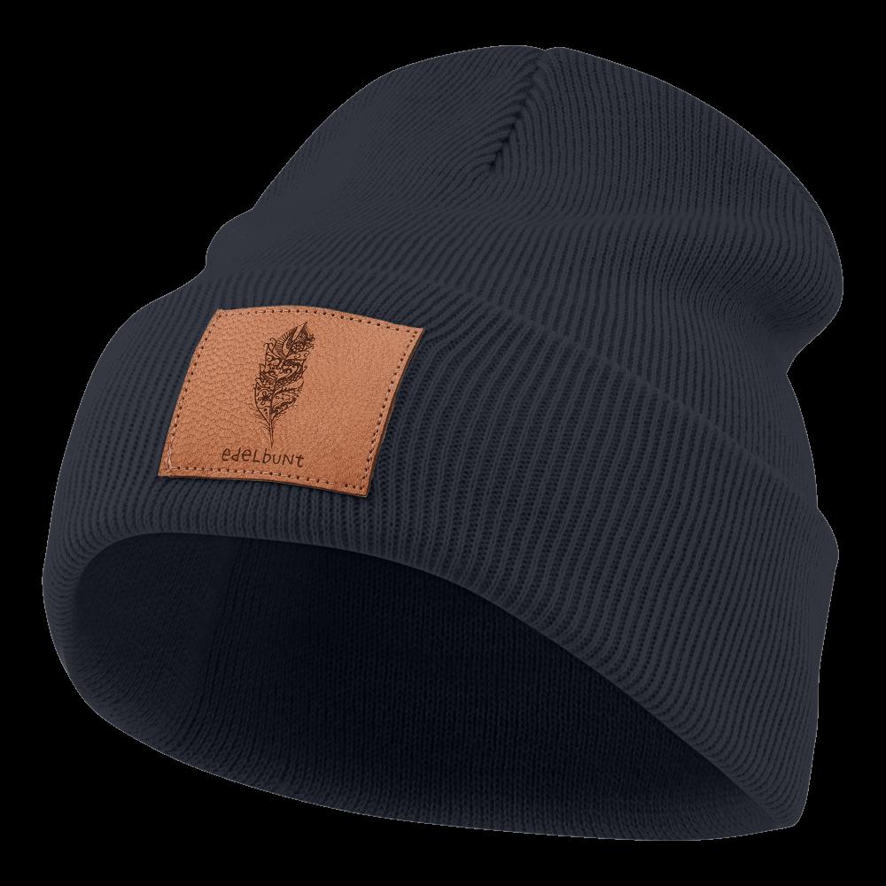 Mütze_dunkelblau_Patch_braun