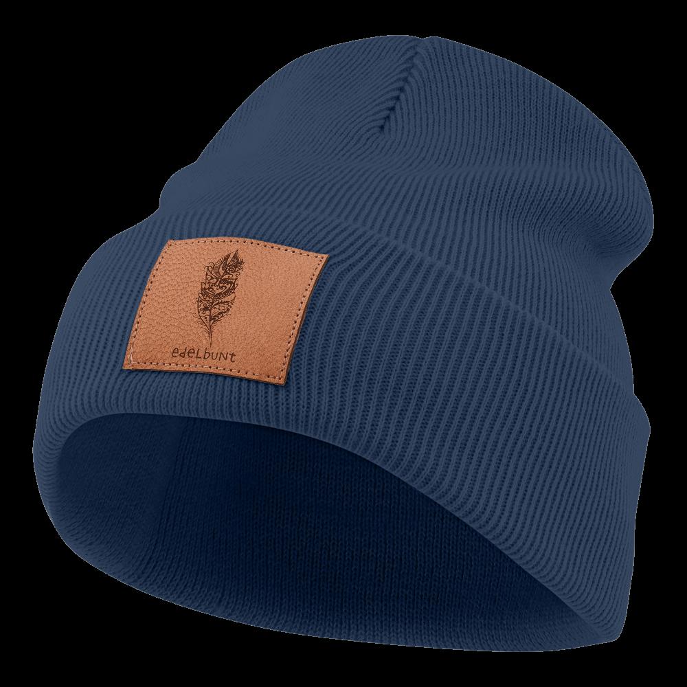 Mütze_blau_Patch_braun